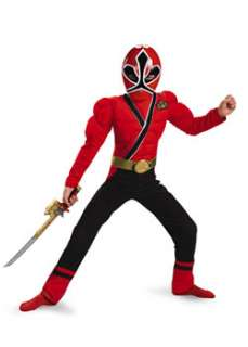 Child Classic Muscle Red Power Ranger Samurai Costume  Cheap Power