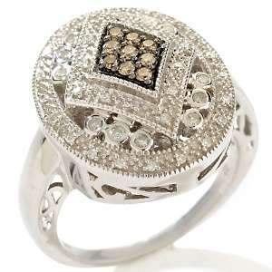 33ct Cocoa and White Diamond Sterling Silver Art Deco Ring