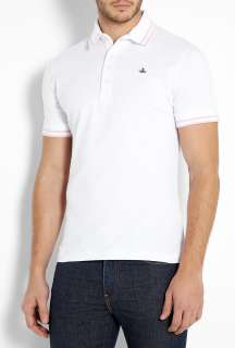 Vivienne Westwood  White High Collar Orb Polo Shirt by Vivienne