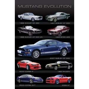 Ford Mustang Evolution Muscle Sports Car Poster 24 x 36