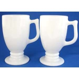 Vintage Milk Glass Footed Mugs Cups Irish Coffee