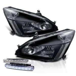 Black Head Lights + LED Bumper Fog Lamp Pair New Set Automotive