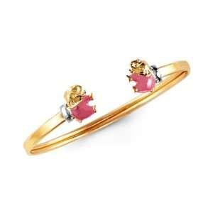 14k Yellow Gold Pink Elephant Baby Girl Bangle Bracelet Jewelry