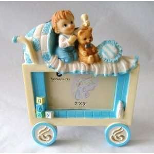 Baby Keepsake Set of 12 Adorable Baby Boy with Teddy Bear in Carriage
