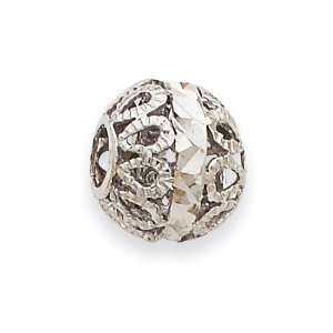 14k White Gold Diamond cut Filigree Ball Chain Slide Jewelry