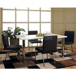 Mira White Top Dining Room Set w/ Black Chairs F5430 38 40 bdr set
