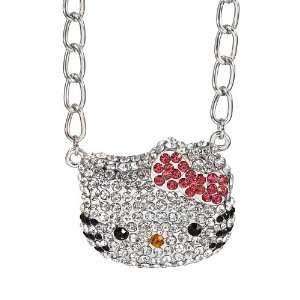 Kitty rhinestone pendant necklace   pink bow Arts, Crafts & Sewing