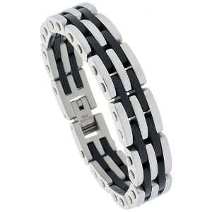 Surgical Stainless Steel & Rubber Bar Bracelet, 5/8 inch (15 mm) wide