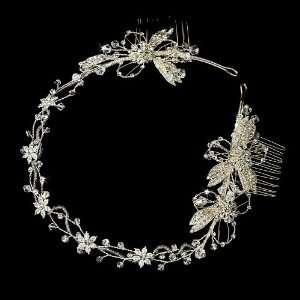 Silver Floral Rhinestone Crystal Bridal Headband Tiara Jewelry