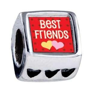 Best Friends Heart European Bead Charm Fits All Pandora/troll/chamilia