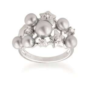 Cluster Grey Freshwater Cultured Pearl and Cubic Zirconia Star Ring
