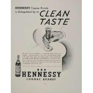 1936 Prin Ad Hennessy Cognac Brandy hree Sar Glass   Original Prin