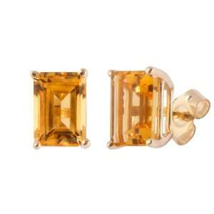 10k Yellow Gold Emerald Cut Citrine Stud Earrings Jewelry