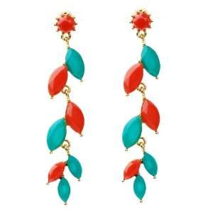 Cute Summer Spring Dangle Earrings in Gold Tone with Red and Turquoise