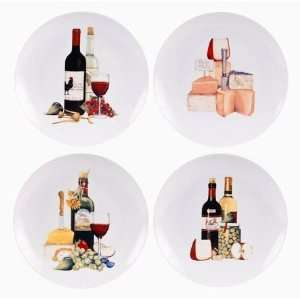 Gift Set of 4 Wine & Cheese Dessert Plates, 8.5 Inches, 4