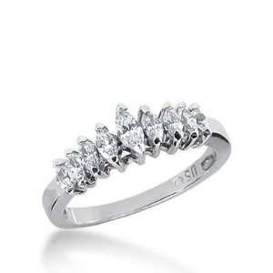 14k Gold Diamond Anniversary Wedding Ring 9 Marquise Shaped Diamonds 1
