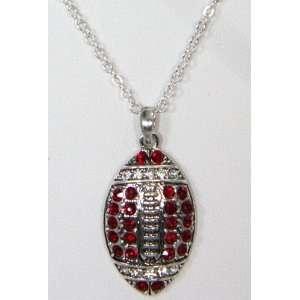 com Alabama Football Red & Silver Diamond Necklace Football Pendant