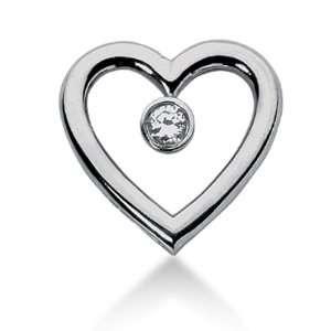 14K Gold Bezel set Diamond Heart Solitaire Pendant (0.25 cttw, F   G