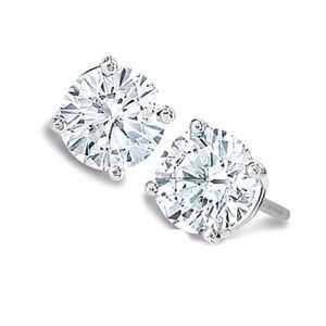 1.50 ct Round Diamond Stud Earrings 14K White Gold Jewelry