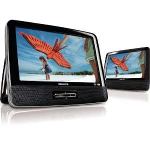 Philips PD9012/37 9 Inch LCD Dual Screen Portable DVD Player, Black