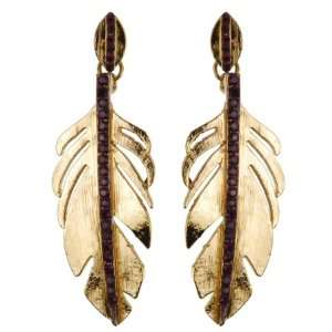 Gold Plated Leaf Shape Earring with Pink Stones