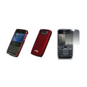 EMPIRE   Nokia E72   Premium Red Rubberized Snap On Cover
