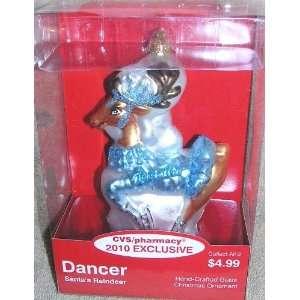 2010 Exclusive Santa Claus Reindeer DANCER Glass Christmas