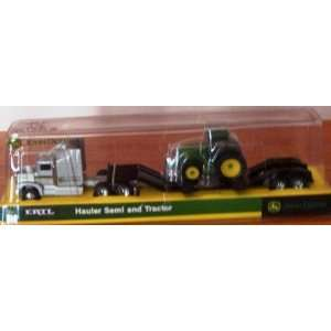 John Deere Farm Semi in Silver with Flatbed with Tractor Toys & Games