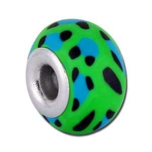 15mm Green Animal Print Large Hole Clay Bead Arts, Crafts & Sewing