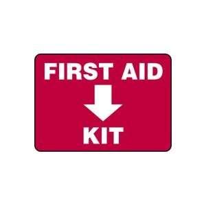 FIRST AID KIT (DOWN ARROW) Sign   7 x 10 Adhesive Dura