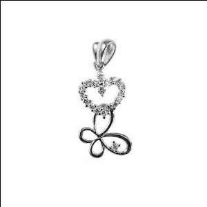 White Gold, Heart Butterfly Pendant Charm Lab Created Gems 11mm Wide