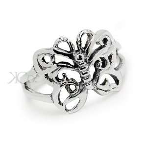 Sterling Silver Open Butterfly Toe Ring Jewelry