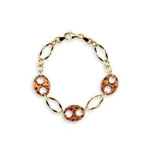 14k Hollow Gold Cheetah Leopard Enamel Charm Bracelet Jewelry