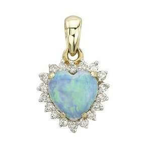 14K Yellow Gold Heart Shape Opal & Diamond Pendant