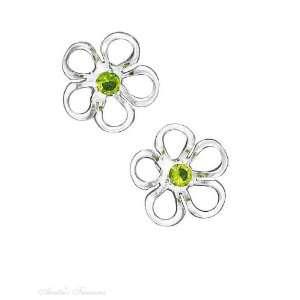 Sterling Silver Green Cubic Zirconia Flower Post Earrings Jewelry
