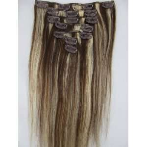 7Pcs 20 Womans Clip in on Human Real Hair Extensions Silk Straight