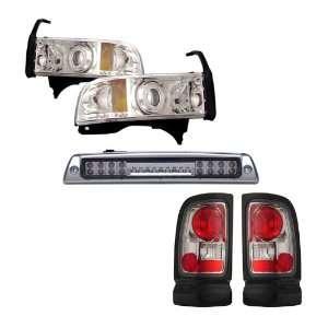 94 01 Dodge Ram Chrome CCFL Halo Projector Headlights + LED 3RD Brake