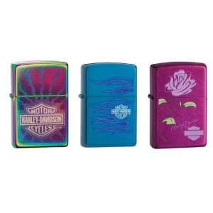 Zippo Lighter Set   Harley Davidson Spectrum Flaming