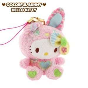Hello Kitty x Colorful Bunny Patchwork Plush Doll Cell Phone Charm
