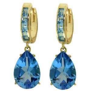 Gold Hoop Huggie Earrings with Genuine Dangling Blue Topazes Jewelry