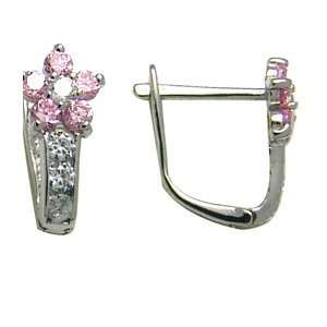 Rose Pink   Flowering CZ Star 14k White Gold Huggie Earrings Jewelry