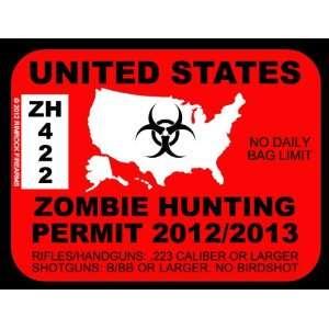 United States Zombie Hunting Permit 2012 (Bumper Sticker