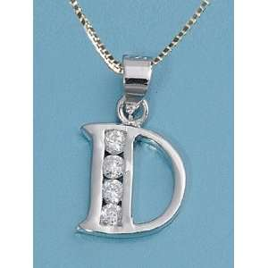 Sterling Silver Childrens Initial Letter D Necklace for Child with CZ