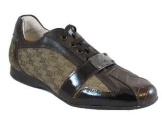 Mauri Italian Mens lace up Ostrich Sneakers 8840 Brown