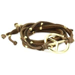 Ettika Brown Leather Wrap Bracelet with Gold Colored Peace