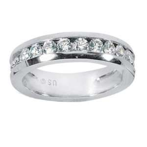 80 ct Mens Round Cut Diamond Wedding Band in 14 kt White Gold size
