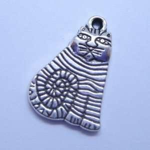 Tibetan silver specail Cat Charm Pendant Beads Findings 5Pcs (15mm x