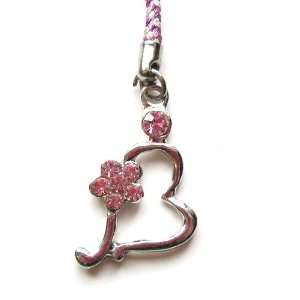 Cell Phone Mobile Camera Charm Strap Beautiful Silver Heart with Pink