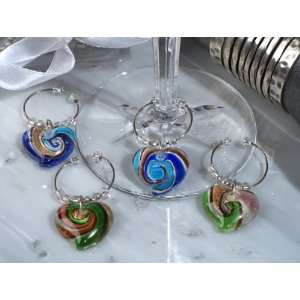 Murano art deco collection heart design wine charms (Set of 6) Baby