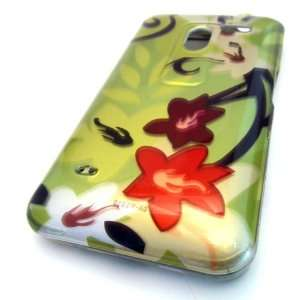 LG MS910 Esteem Green Flower Blossom Gloss Hard Case Cover